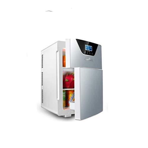 L&B-MR Doppeltüriges Auto, Kleiner Kühlschrank, 20-Liter-Haushaltskühlschrank, Doppelhaus-Mikrokühlschrank, Geeignet Für Studentenwohnheime,Silber
