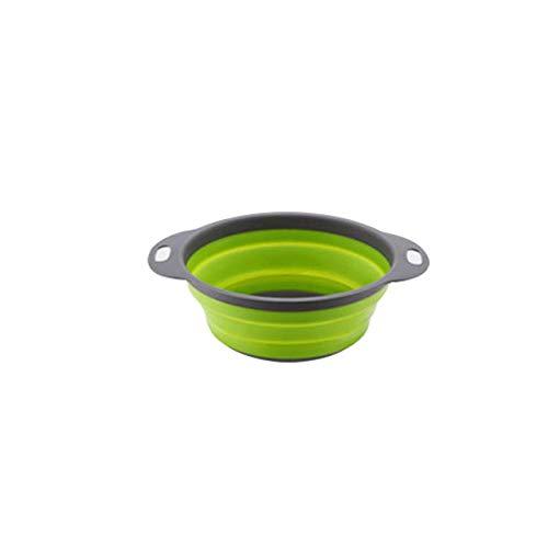 EmNarsissus Cesto di Scarico Pieghevole Frutta Verdura Scolapasta Gadget per la conservazione della Cucina Verde