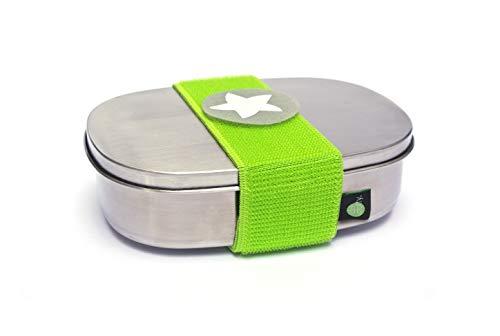 *kjomizo I do dottyBOX Edelstahl MIT Trennsteg und Klettmotiv zum Individualisieren für Kindergarten und Schule GRÜN*