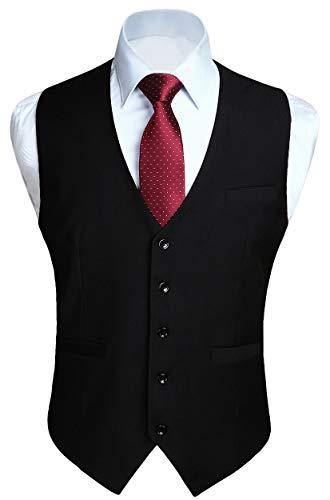 HISDERN Gilet Nero da uomo in cotone solido con gilet da lavoro formale da uomo