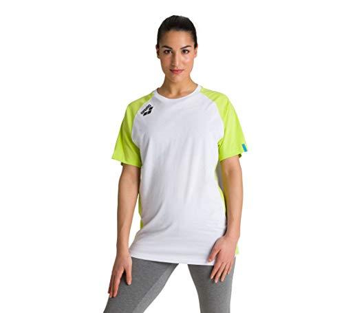 ARENA Sport T-Shirt Te Panel Camiseta, Unisex Adulto, Blanco/Verde Lima, Large