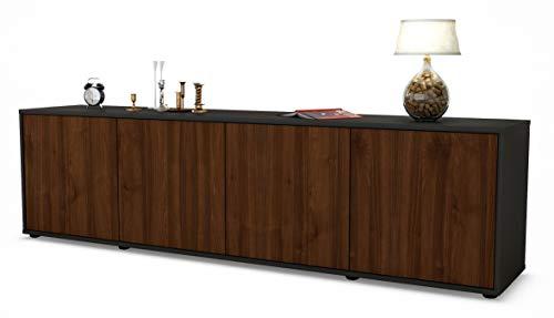 Stil.Zeit TV Schrank Lowboard Antonia, Korpus in anthrazit matt/Front im Holz-Design Walnuss (180x49x35cm), mit Push-to-Open Technik, Made in Germany