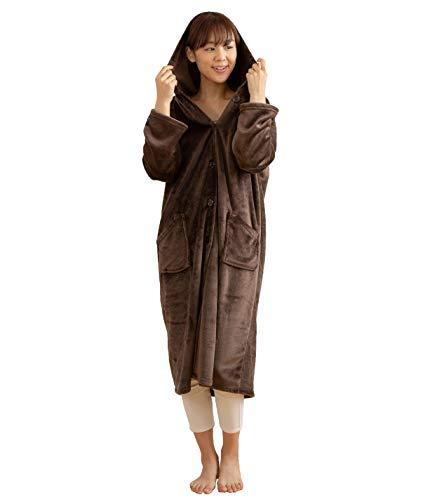 mofua(モフア)着る毛布プレミアムマイクロファイバールームウェアフード付きMサイズ(着丈110cm)ブラウン48476406
