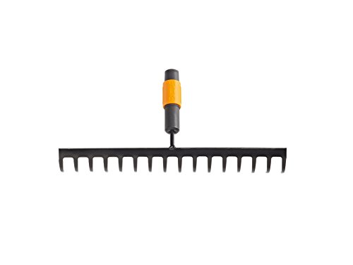 Fiskars Râteau à 16 dents, Tête d'outil QuikFit, Largeur: 40 cm, Acier au carbone, Noir/Orange, QuikFit, 1000654