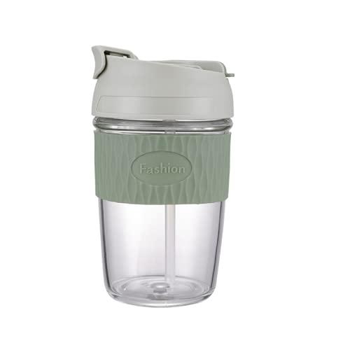 LBTM Copa De Glaseador De Vidrio Portátil Shaker Cups Tazas De Batidos con Tapas Reutilizables Copas De Café Copas De Postre Verde 350Milliliters