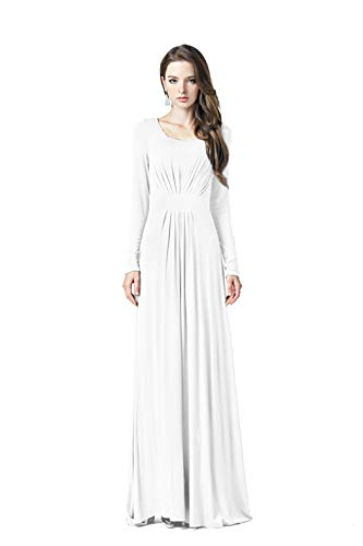 Charm Your Prince Women's Designer Round Scoop Neck Long Sleeve Maxi Dress White M