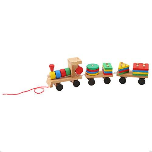 Hengxing Holz Geometrische Blöcke Zug Gebäude Stacking Set Toy Assembly Pull Along Puzzle für Kinder
