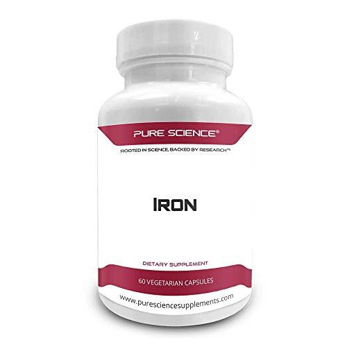 Pure Science Hierro (como sulfato ferroso) 65mg - Suplemento de hierro esencial para mujeres y hombres, combate la anemia cerebral y la formación de hemoglobina - 60 cápsulas vegetarianas