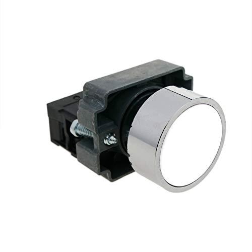 BeMatik - Pulsador momentáneo 22mm 1NC 400V 10A normal cerrado blanco (BU006)