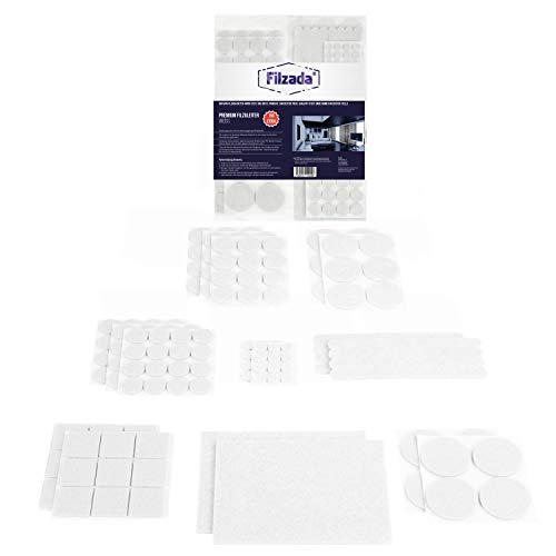 Filzada® Filzgleiter Selbstklebend Set 156 Stück (Eckig und Rund) - Weiß - Profi Möbelgleiter Filz Mit Idealer Klebkraft
