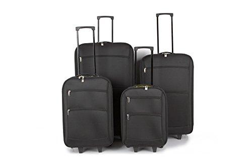 Tourer quattro pezzi set di trolley che comprendono i casi più cabina 32, 28 e 22 pollici di dimensioni caso 19 pollici (Nero)