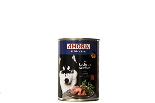 Amora Fleisch Pur Sorte Lachs & Seefisch 12 x 400g Hundefutter Nass
