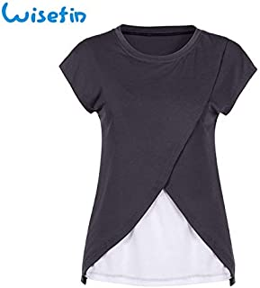 7ab297058f7fc Wisefin Nursing Clothes Summer Patchwork O-Neck Women Maternity Tops 6  Colors Woman Clothing for