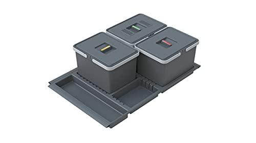 ELLETIPI Metropolis PTC28 08050 7F C97 PPV-Cubo de Basura de Reciclaje con cajón, Gris, 71 x 46 x 28 cm, Media