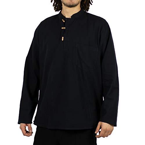 KUNST UND MAGIE Herren Fischerhemden bequemer Schnitt Klassische Farben in verschiedenen Größen, Größe:XXL, Farbe:Black/Schwarz