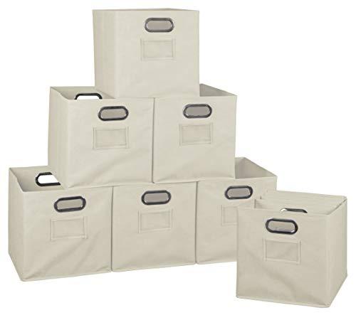 Niche Set of 12 Cubo Foldable Fabric Bins- Natural