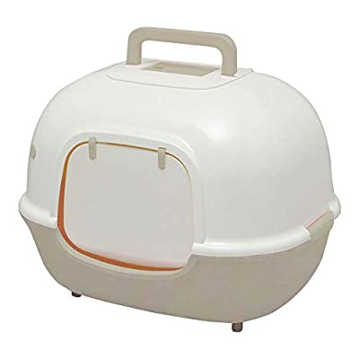 Iris Ohyama, Cat toilet house with front opening and scoop - Hooded Cat Litter Box WNT-510 - Plastic, Beige, 51 x 40 x 39 cm