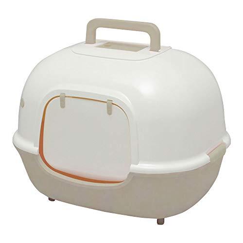 Iris Ohyama, Maison de toilette   bac à litière fermé avec grande entrée, absence de dispersion de litière et d odeur, portable, : 11 cm, pelle incluse, pour chat - Cat Litter Box WNT-510 - Beige