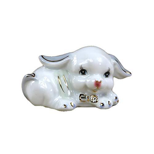 QIBAJIU Ornamento Figurine Statue da Giardino Cucciolo di Porcellana Miniatura in Ceramica Doggie Scultura Animale Domestico Accessori per La Casa Acc