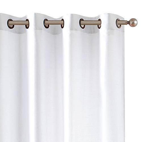 Vangao White Silky Curtains 95 inches Long Faux Silk Opaque Curtain Light Filtering Living Room Satin Drapes Privacy Window Treatments Set for Bedroom, Grommet Top,2 Panels