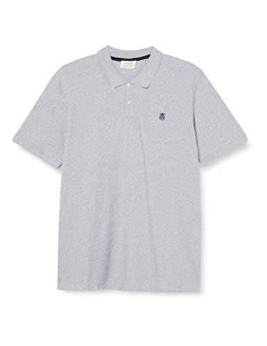 SELECTED HOMME Herren SLHARO SS Embroidery Polo W PS Polohemd, Medium Grey Melange, 4XL