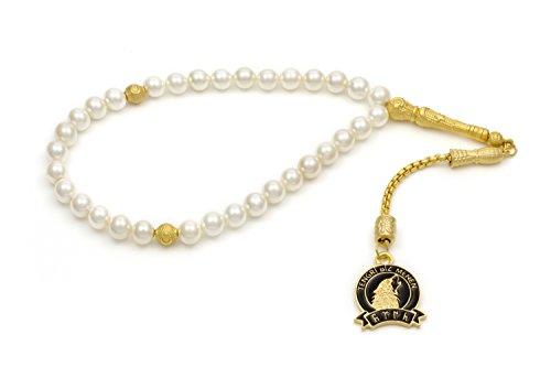 Gök-Türk Cadena de oración elegante - Tesbih perlas blancas con pendiente dorado 'Tengri Biz Menen' lobo
