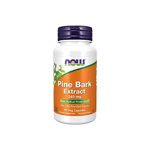 NOW Supplements, Pine Bark Extract 240 mg, 90% OPC Pine Bark Extract, (from the Inner Bark of Chinese Red Pine), 90 Veg Capsules