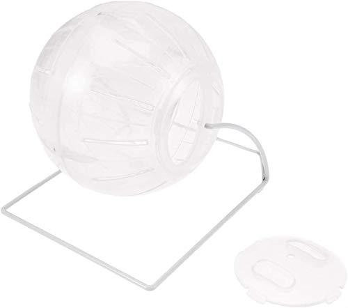 GIMS Pelota de ejercicio para hámster, 4 en 1, multifuncional, para hámster, ratón, ratón, rata, pequeño animal, rosa, 12 cm (color: blanco)