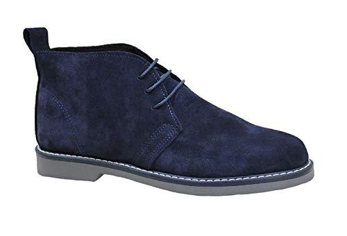 Evoga Scarpe polacchine uomo blu 100% made in Italy casual eleganti in vera pelle (42)