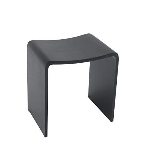 KZOAO Design Badhocker Duschhocker aus Mineralguss in den Farben Weiß, Grau und Schwarz sowie in den Oberflächen Matt und Glänzend verfügbar, Oberfläche:Schwarz Matt