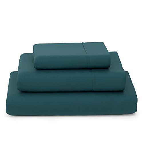 Cosy House Collection Luxury Bamboo Bed Sheet Set - Hypoallergenic Bedding Blend from Natural Bamboo Fiber - Resists Wrinkles - 3 Piece - 1 Fitted Sheet, 1 Flat, 1 Pillowcase - Twin XL, Dark Teal
