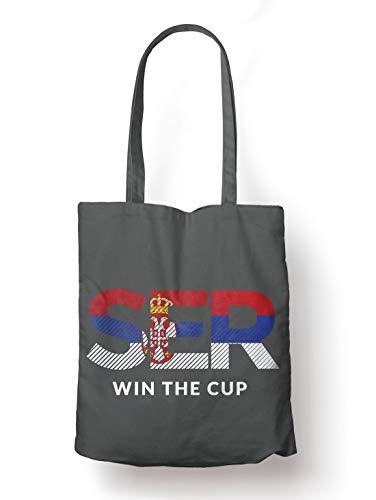 BLAK TEE Serbia Will Win The Football Cup Organic Cotton Reusable Shopping Bag Grey