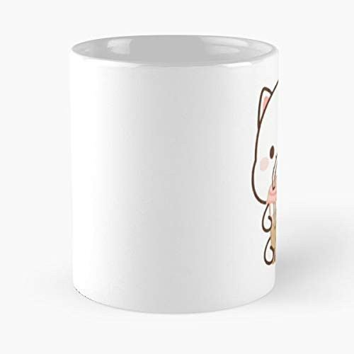 Generic Cat Drinking Bubble Tea - La Meilleure Tasse À Café En Céramique De Marbre Blanc De 11Oz ! ! Personnaliser