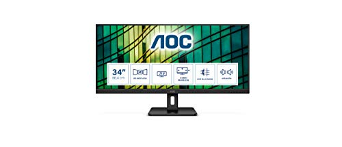 AOC Q34E2A Monitor de 34' UWide QHD (2560x1080, 75Hz, Flicker Free, Low Blue Light, Altavoces, VESA, HDMI, Displayport) Negro