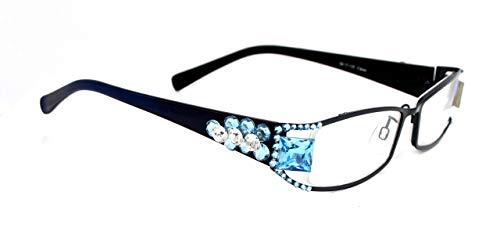 Lollapalooza, Bling Women Reading Glasses with Blue Aquamarine and Clear Swarovski Crystals +1.25 +1.50 +1.75 +2.00 +2.25 +2.50 +2.75, Black Frame, Big Square Aqua Fancy crystal. NY Fifth Avenue.