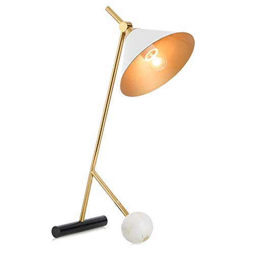 Preisvergleich Produktbild XZHU Nordic Marmor Tischlampen,  Modernen Luxus Gold Eisen Weiß Beleuchtung Dekoration Plug-in Leselampe Kreative Wohnzimmer Büro Student Schreibtisch Licht