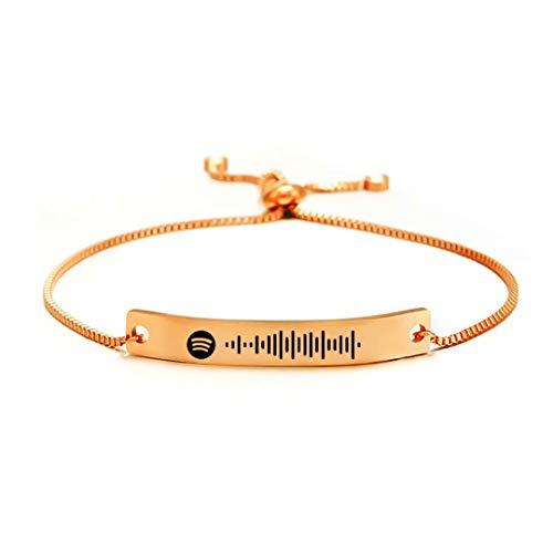 Pulsera de código de escaneo de Spotify de música personalizada, brazalete ajustable para mujer, pulsera deslizante para mujer, regalo de joyería
