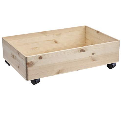 HolzFee Holzkiste 60 x 40 x 13 / 17 cm große Unter Bett Kiste Holz Kiste mit Rollen