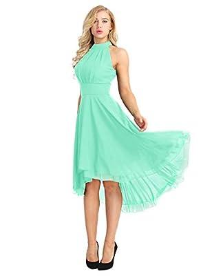 ACSUSS Women's Sleeveless Halter Neck Bridesmaid Dress High Low Evening Prom Flare Dresses Mint Green 12
