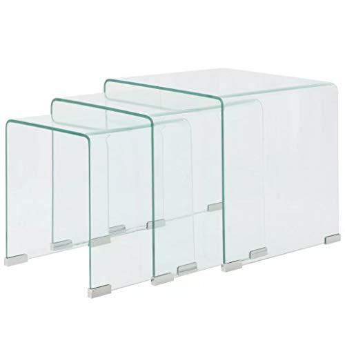 mewmewcat Set de 3 Multifuncional Mesas de Centro Apilables Nido de Salón Mesa de Cristal Mesita de Noche Mesa de Café Mesa Auxiliar de Vidrio de Seguridad Templado Claro ⭐