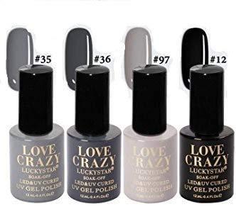 LOVECRAZY® Series Esmaltes de Uñas en Gel Permanente/Semipermanente para Manicura y Pedicura, 4 Esmaltes de Colores,Top Coat y Base Coat UV LED (35,36,97,12)