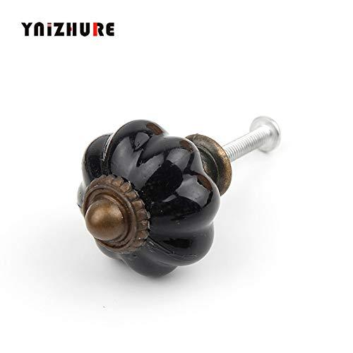 Bureze 2PCS 33 * 36mm Moderne zwarte acryl knoppen en lantaarn handgrepen deur gelegeerd handvat kast lade keuken Pull handvat knop meubels