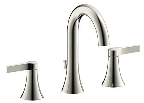 Fontaine by Italia, MFF-VARW8-BN, Varenne 8 in. Widespread Bathroom Sink Basin Faucet Fixture Tap with Drain in Brushed Nickel