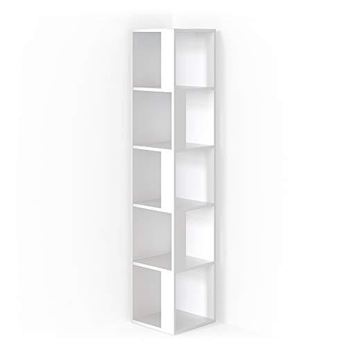 Vicco Eckregal Lio Standregal Bücherregal Wandregal Raumteiler 5 Ebenen (Weiß)