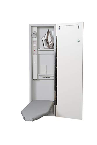 Built-In Ironing Center with 42 Inch Ironing Board, Electrical System, Hot Iron Storage and Flat White Door - Iron-A-Way E42FWU