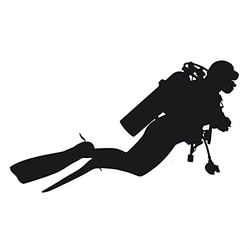 18.3cm * 10.5cm Estilo de automóvil Moda Buceo Vinilo Pegatinas de Coche Personalidad Accesorios Negro Plata (Color Name : Black)