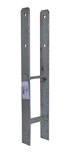 H-Anker 5,0-5,5mm feuerverzinkt 600mm 71/91/101/141 Pfostenträger Pfostenanker Zaun caport (4, 91mm/600mm)
