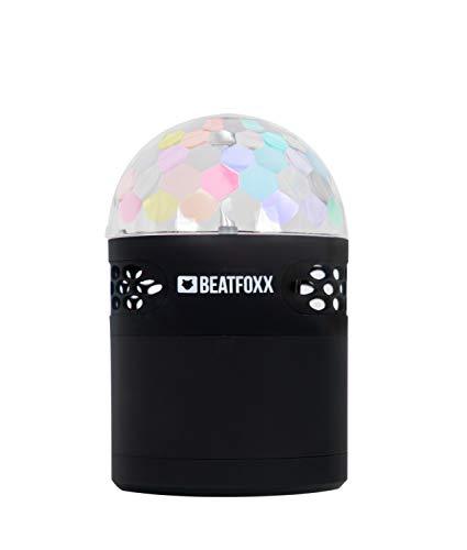 Beatfoxx Discoboy draagbare LED-Bluetooth-luidspreker draagbare accu-luidsprekerbox (3 geïntegreerde LED's voor caleidoscoopachtig discobal effect, FM-radio, AUX-ingang) zwart
