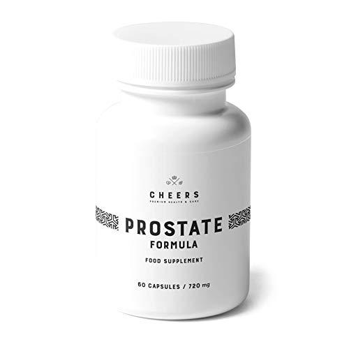 Cheers, Prostatakomplex, Formel, 60 Vegankapslar för Prostatastöd och Hälsosam Urinvägar, Berikad med Växtextrakt, Vitamin B6, Zink och Selen
