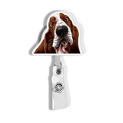WIRESTER Retractable Badge Reel ID Holder with Alligator Clip for Office Worker, Medical Staffs, Student - Cute Basset Hound Dog